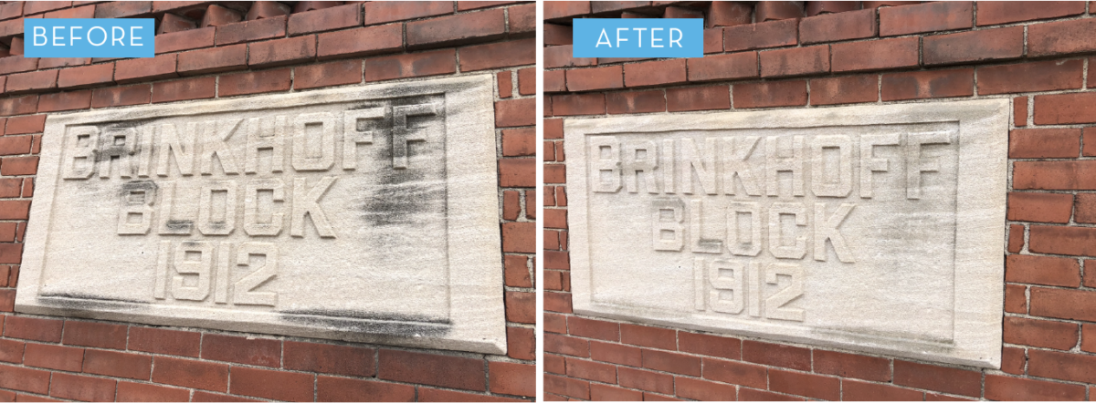 The Historical Restoration of an Iowa Town Using Dry Ice Cleaning - Before and After Limestone